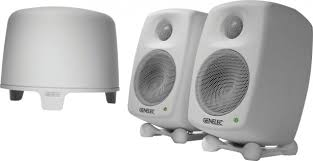 Genelec 6010A monitors with rubber stands to angle the mix to your ears. Used by Datismus in the mixdown studio.